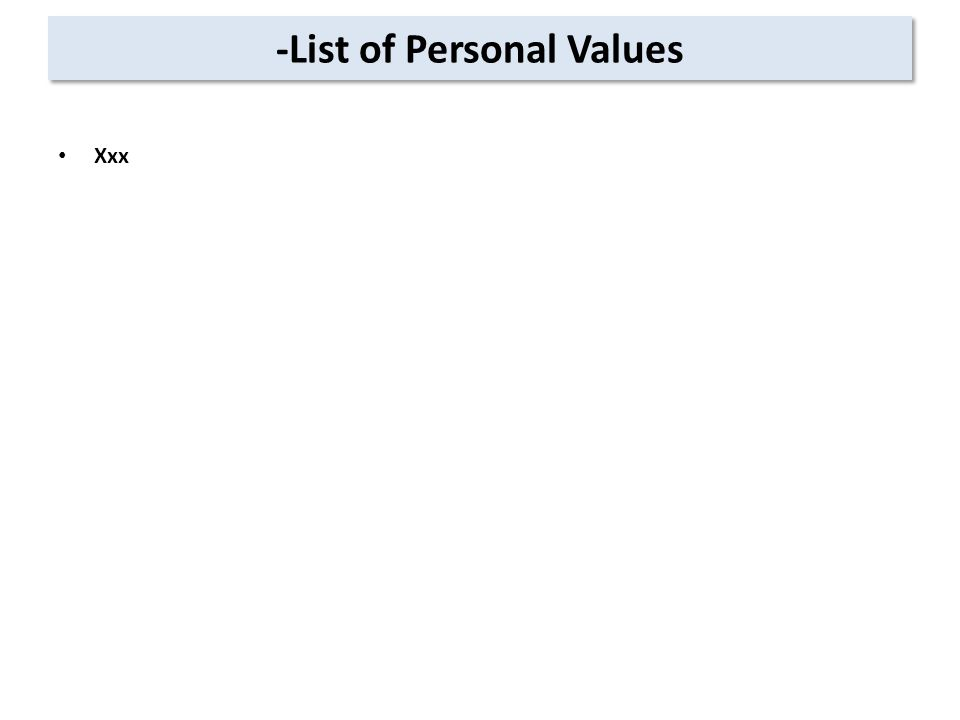 -List of Personal Values Xxx