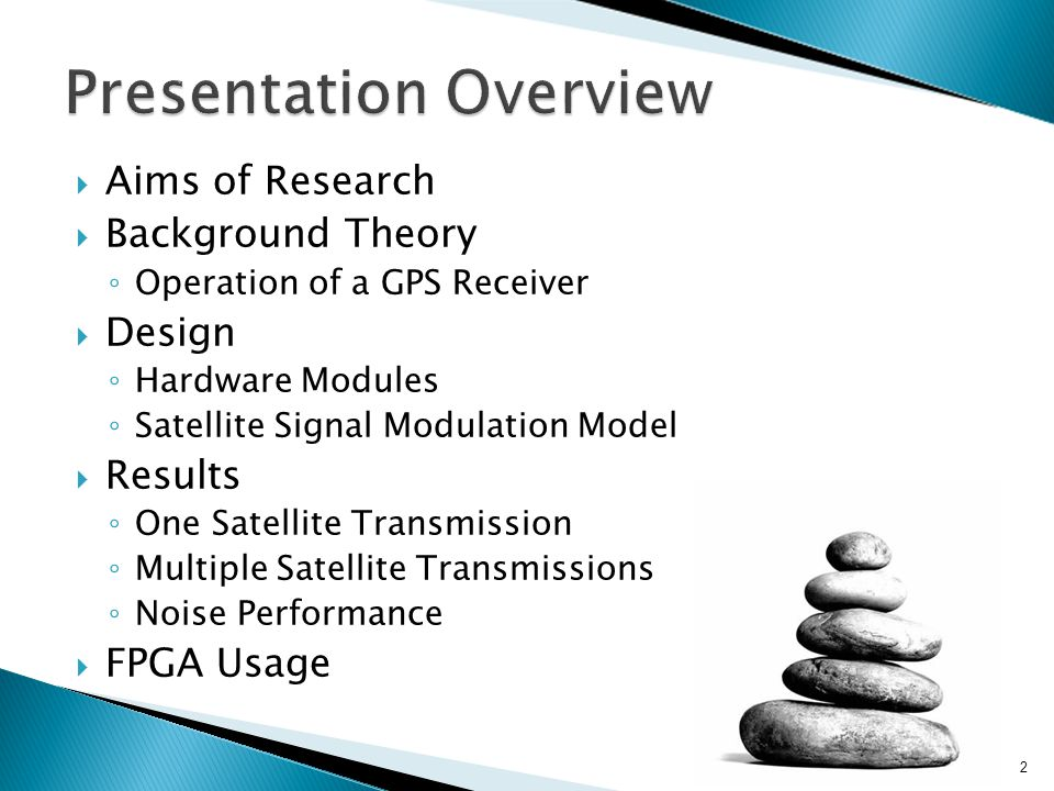  Aims of Research  Background Theory ◦ Operation of a GPS Receiver  Design ◦ Hardware Modules ◦ Satellite Signal Modulation Model  Results ◦ One Satellite Transmission ◦ Multiple Satellite Transmissions ◦ Noise Performance  FPGA Usage 2