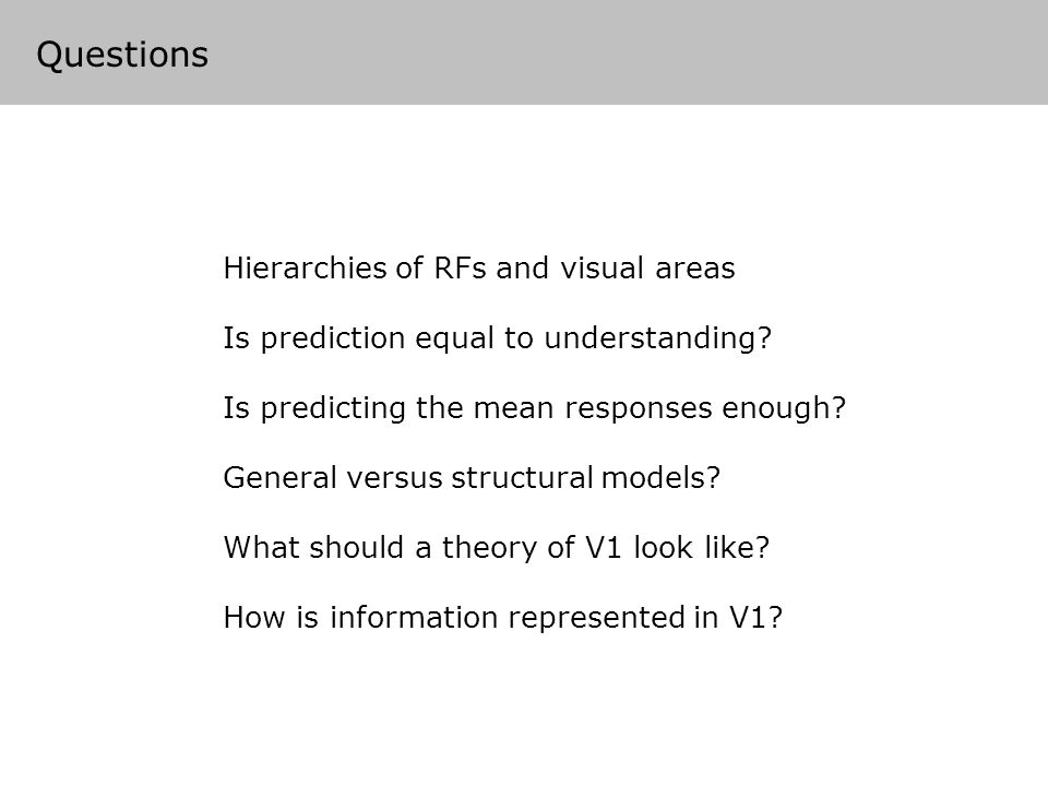 Questions Hierarchies of RFs and visual areas Is prediction equal to understanding.