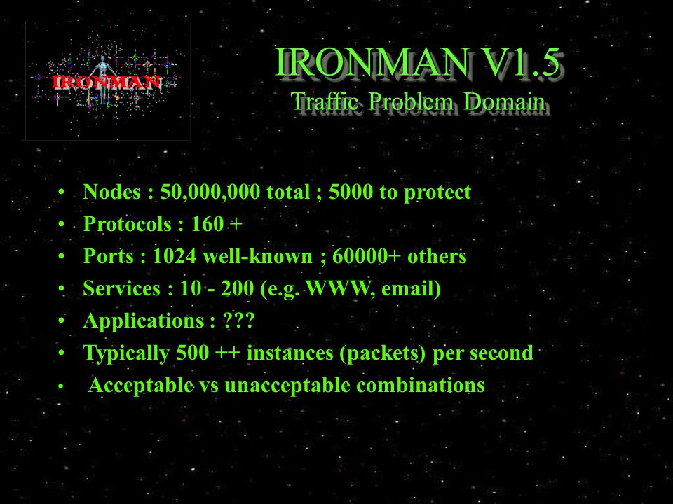 IRONMAN V1.5 Traffic Problem Domain Nodes : 50,000,000 total ; 5000 to protect Protocols : 160 + Ports : 1024 well-known ; 60000+ others Services : 10 - 200 (e.g.