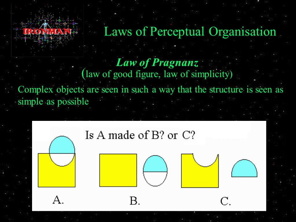 Law of Pragnanz ( law of good figure, law of simplicity) Complex objects are seen in such a way that the structure is seen as simple as possible Laws of Perceptual Organisation