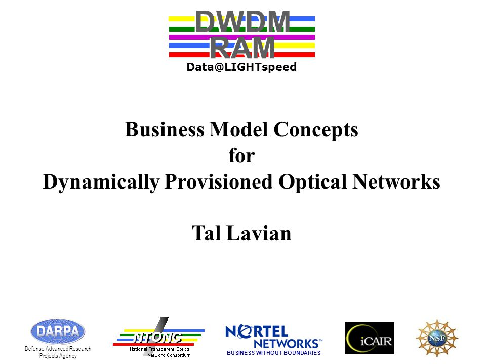 Business Model Concepts for Dynamically Provisioned Optical Networks Tal Lavian DWDM RAM DWDM RAM Data@LIGHTspeed Defense Advanced Research Projects Agency BUSINESS WITHOUT BOUNDARIES
