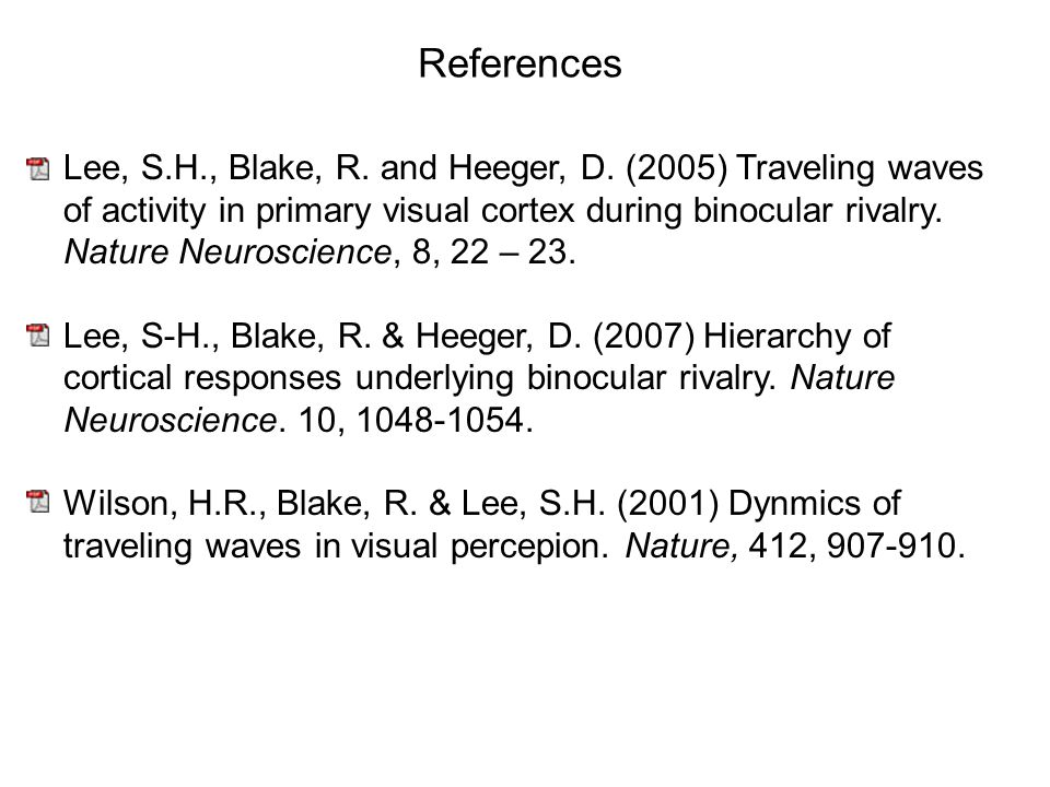 References Lee, S.H., Blake, R. and Heeger, D.