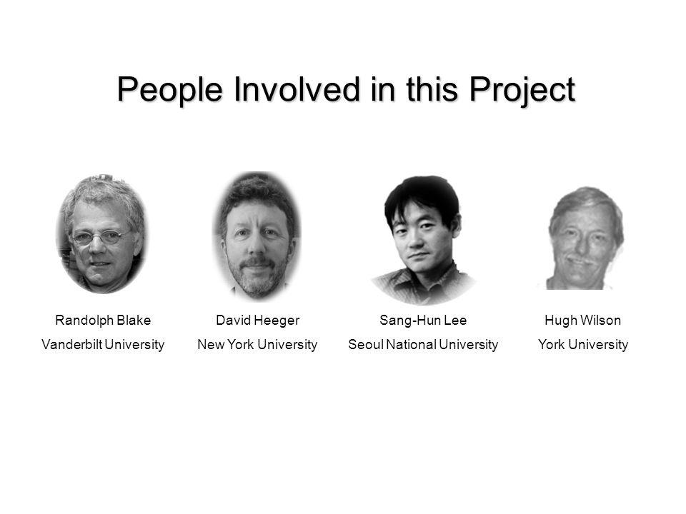 People Involved in this Project Randolph Blake Vanderbilt University David Heeger New York University Sang-Hun Lee Seoul National University Hugh Wilson York University