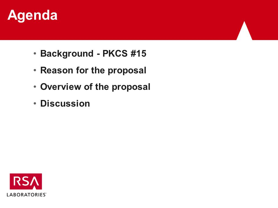 Agenda Background - PKCS #15 Reason for the proposal Overview of the proposal Discussion