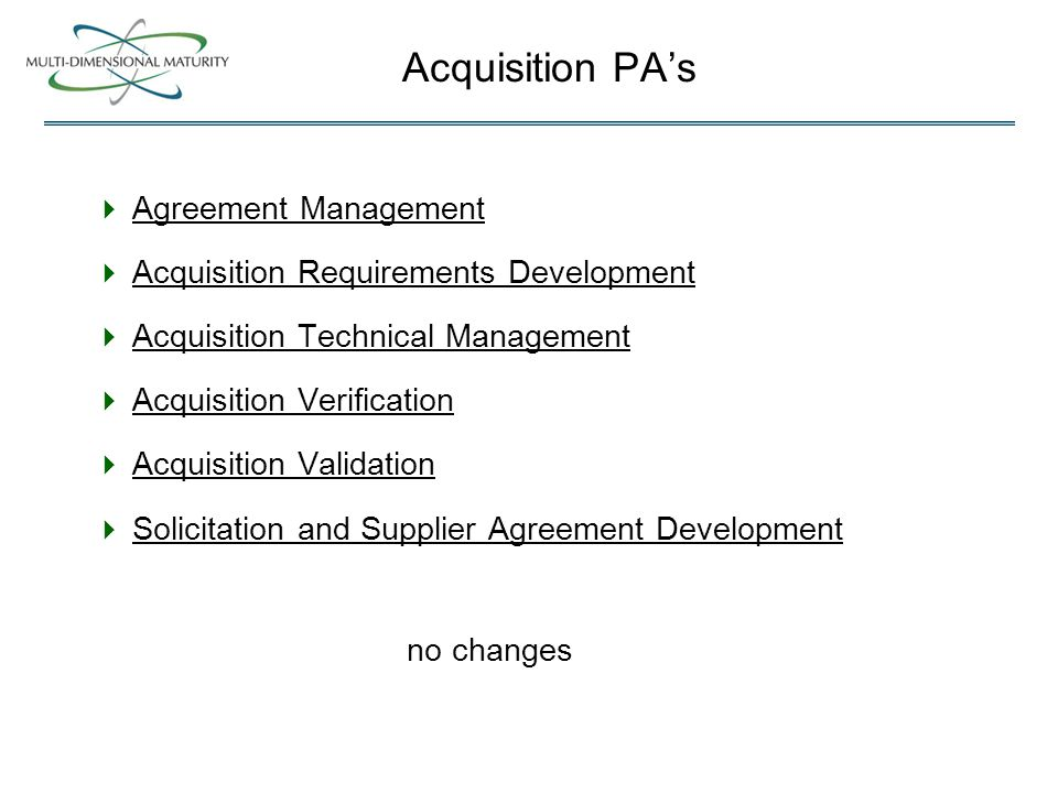 Acquisition PA's  Agreement Management  Acquisition Requirements Development  Acquisition Technical Management  Acquisition Verification  Acquisition Validation  Solicitation and Supplier Agreement Development no changes