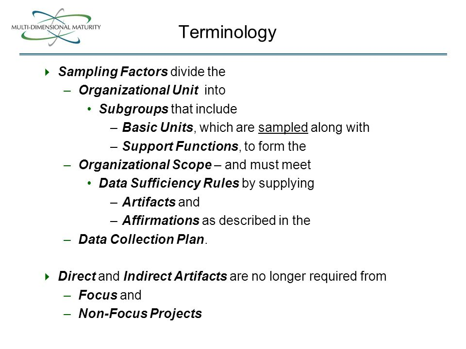 Terminology  Sampling Factors divide the –Organizational Unit into Subgroups that include –Basic Units, which are sampled along with –Support Functions, to form the –Organizational Scope – and must meet Data Sufficiency Rules by supplying –Artifacts and –Affirmations as described in the –Data Collection Plan.