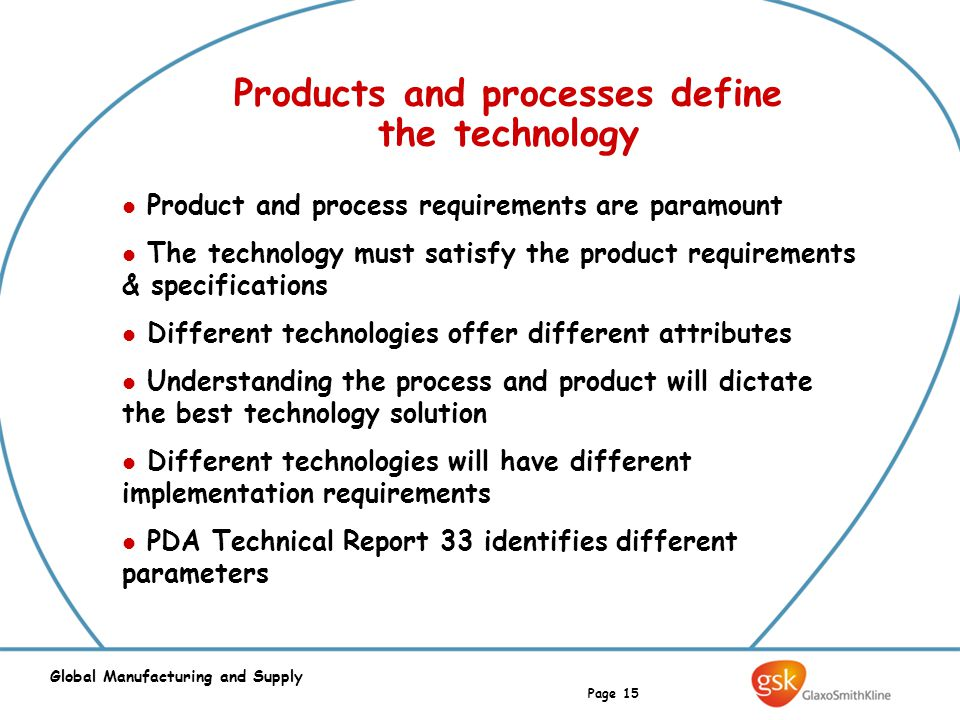 Page 15 Global Manufacturing and Supply Products and processes define the technology Product and process requirements are paramount The technology mus