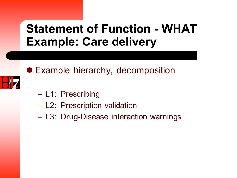 Statement of Function - WHAT Example: Care delivery Example hierarchy, decomposition –L1: Prescribing –L2: Prescription validation –L3: Drug-Disease interaction warnings