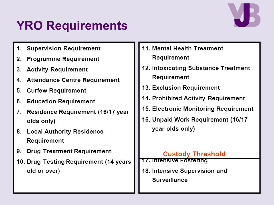 YRO Requirements 1.Supervision Requirement 2.Programme Requirement 3.Activity Requirement 4.Attendance Centre Requirement 5.Curfew Requirement 6.Education Requirement 7.Residence Requirement (16/17 year olds only) 8.Local Authority Residence Requirement 9.Drug Treatment Requirement 10.Drug Testing Requirement (14 years old or over) 11.Mental Health Treatment Requirement 12.Intoxicating Substance Treatment Requirement 13.Exclusion Requirement 14.Prohibited Activity Requirement 15.Electronic Monitoring Requirement 16.Unpaid Work Requirement (16/17 year olds only) 17.Intensive Fostering 18.Intensive Supervision and Surveillance Custody Threshold