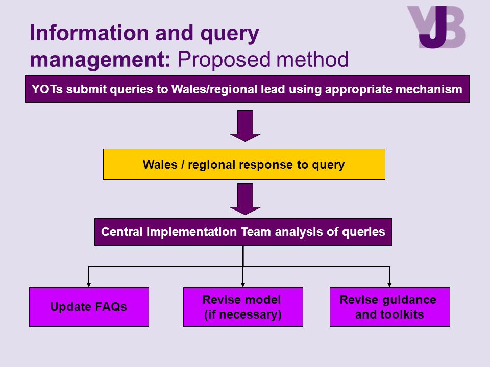 Information and query management: Proposed method YOTs submit queries to Wales/regional lead using appropriate mechanism Wales / regional response to query Update FAQs Revise model (if necessary) Revise guidance and toolkits Central Implementation Team analysis of queries