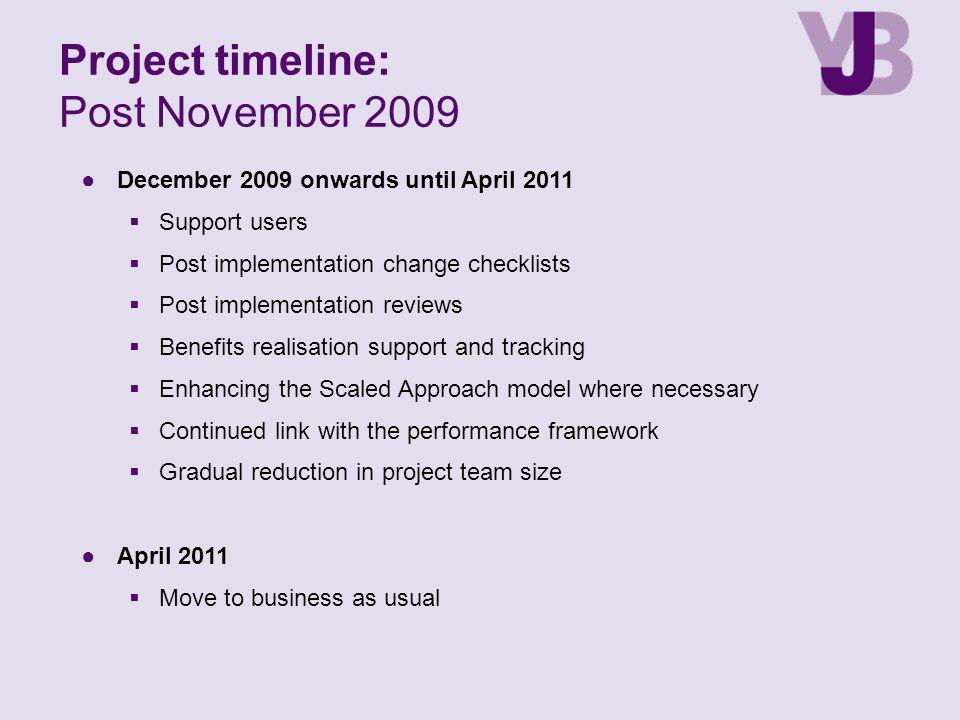 ●December 2009 onwards until April 2011  Support users  Post implementation change checklists  Post implementation reviews  Benefits realisation s