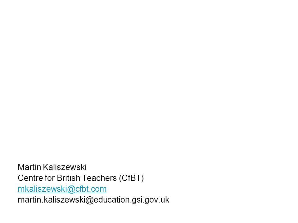 Martin Kaliszewski Centre for British Teachers (CfBT) mkaliszewski@cfbt.com martin.kaliszewski@education.gsi.gov.uk