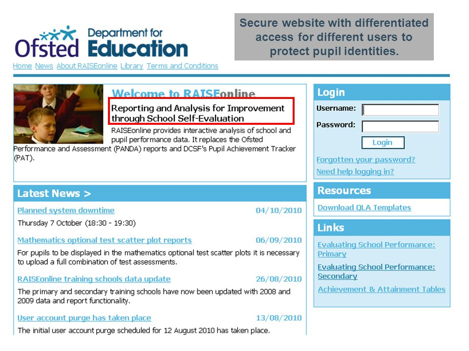 Secure website with differentiated access for different users to protect pupil identities.
