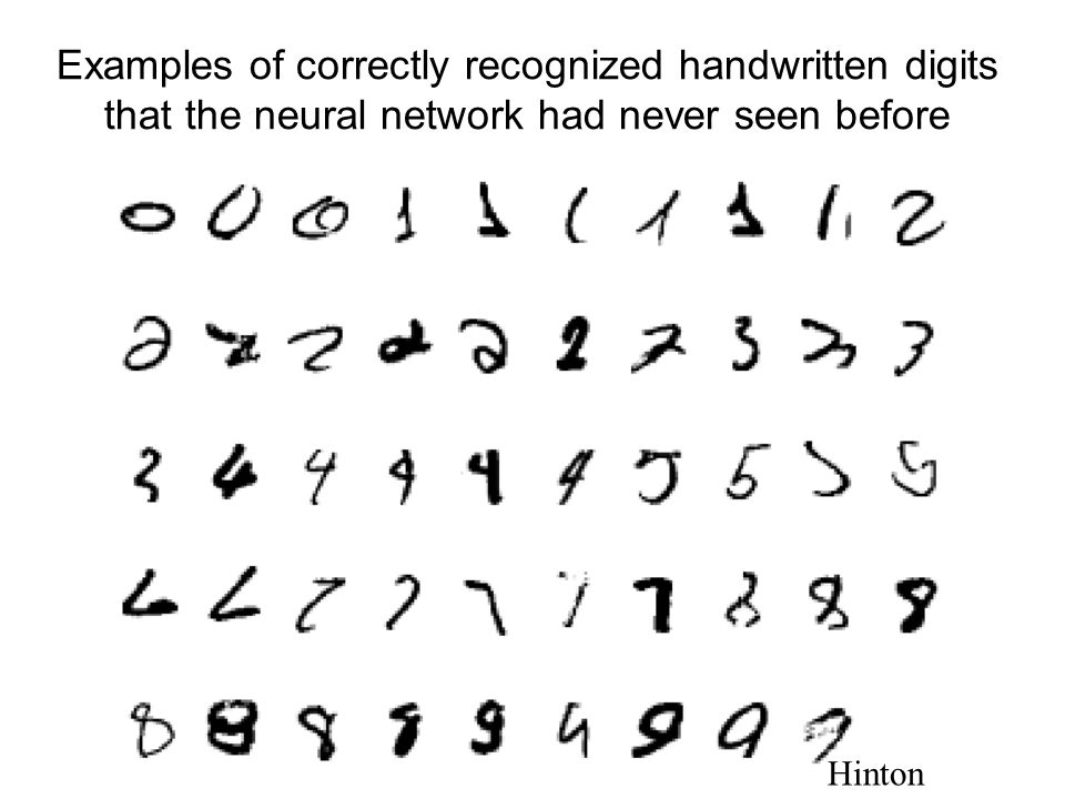 Examples of correctly recognized handwritten digits that the neural network had never seen before Hinton