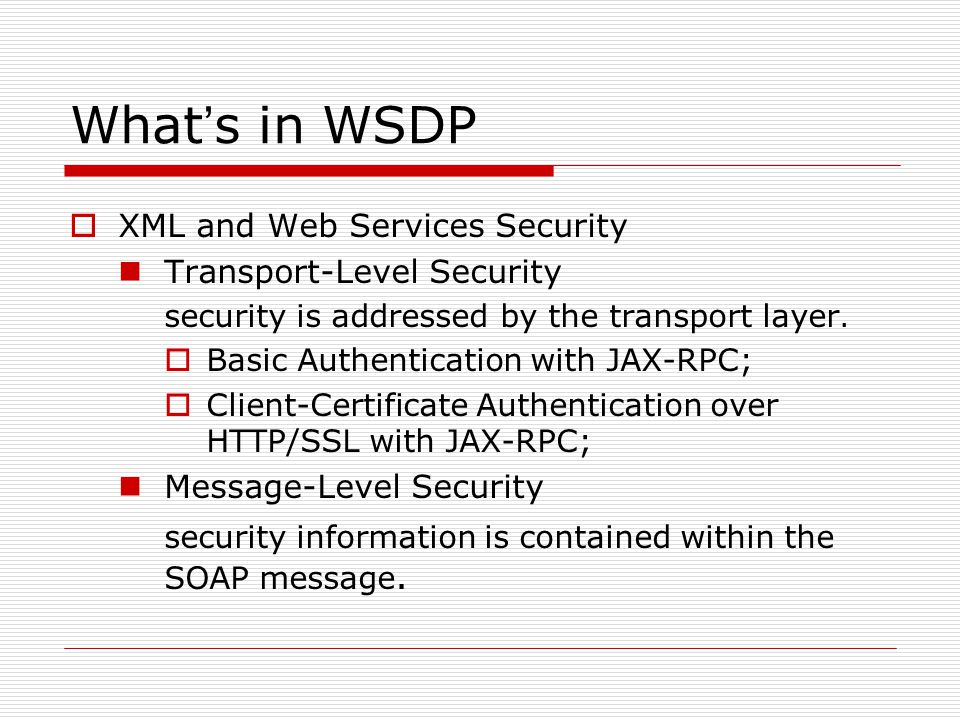 What ' s in WSDP  XML and Web Services Security Transport-Level Security security is addressed by the transport layer.