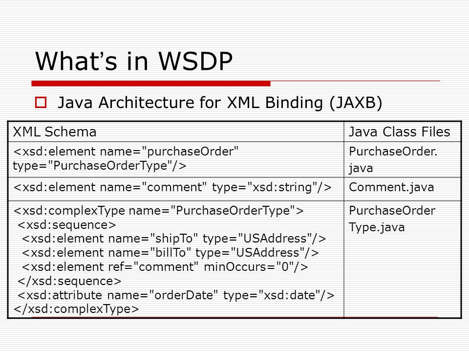 What ' s in WSDP  Java API for XML Processing (JAXP) supports processing of XML documents using DOM, SAX, and XSLT ;  Document Object Model (DOM): an application programming interface for HTML and XML documents;  Simple API for XML (SAX): a common interface implemented for many different XML parsers;  XSL Transformations (XSLT): a language for transforming XML documents into other XML documents; supports for XML schema and an XSLT compiler (XSLTC);