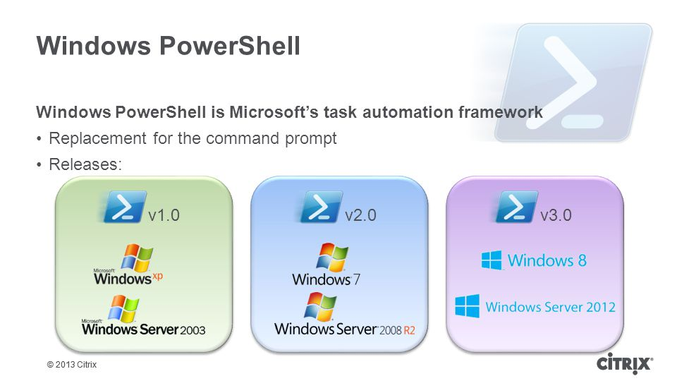 © 2013 Citrix Windows PowerShell Windows PowerShell is Microsoft's task automation framework Replacement for the command prompt Releases: v1.0v3.0v2.0