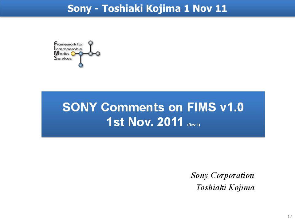 Sony - Toshiaki Kojima 1 Nov 11 17
