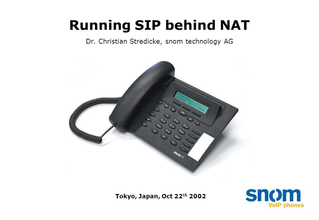 Running SIP behind NAT Dr. Christian Stredicke, snom technology AG Tokyo, Japan, Oct 22 th 2002