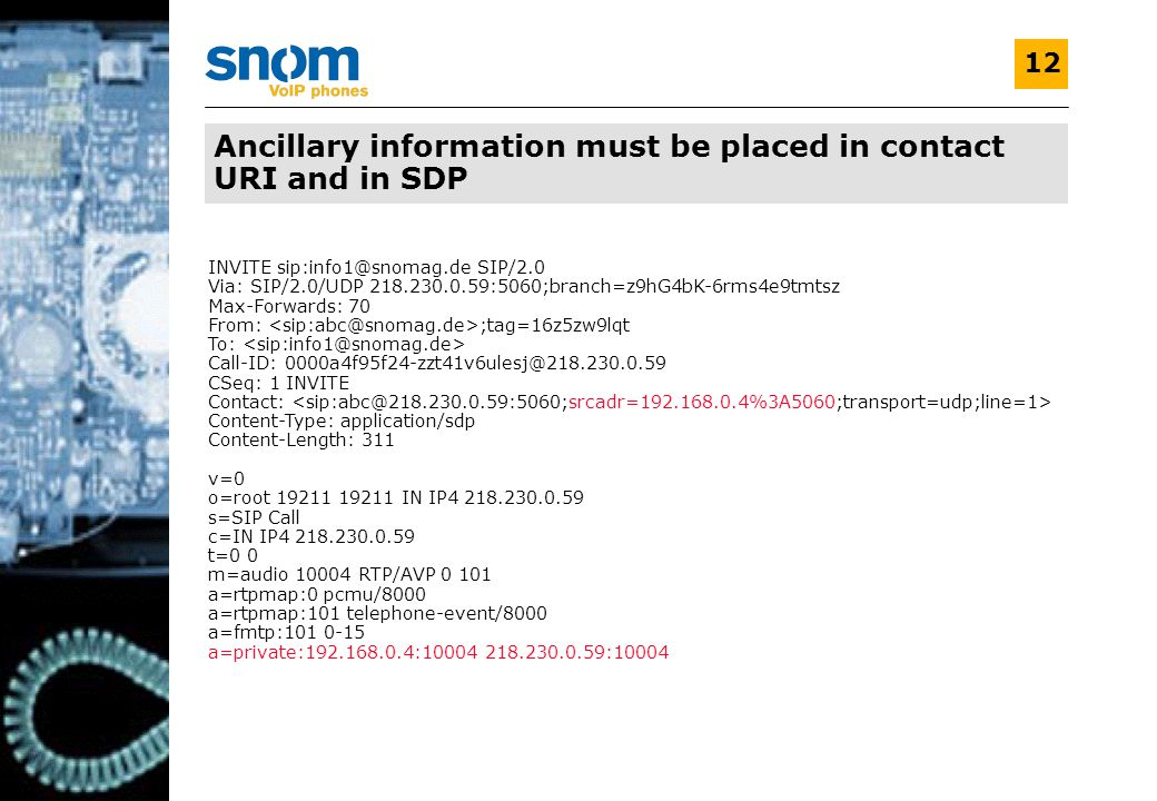 V1.0 12 Ancillary information must be placed in contact URI and in SDP INVITE sip:info1@snomag.de SIP/2.0 Via: SIP/2.0/UDP 218.230.0.59:5060;branch=z9hG4bK-6rms4e9tmtsz Max-Forwards: 70 From: ;tag=16z5zw9lqt To: Call-ID: 0000a4f95f24-zzt41v6ulesj@218.230.0.59 CSeq: 1 INVITE Contact: Content-Type: application/sdp Content-Length: 311 v=0 o=root 19211 19211 IN IP4 218.230.0.59 s=SIP Call c=IN IP4 218.230.0.59 t=0 0 m=audio 10004 RTP/AVP 0 101 a=rtpmap:0 pcmu/8000 a=rtpmap:101 telephone-event/8000 a=fmtp:101 0-15 a=private:192.168.0.4:10004 218.230.0.59:10004