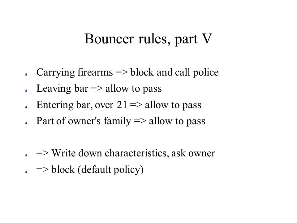 Bouncer rules, part V Carrying firearms => block and call police Leaving bar => allow to pass Entering bar, over 21 => allow to pass Part of owner's f