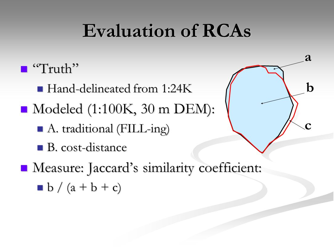 "Evaluation of RCAs ""Truth"" ""Truth"" Hand-delineated from 1:24K Hand-delineated from 1:24K Modeled (1:100K, 30 m DEM): Modeled (1:100K, 30 m DEM): A. tr"