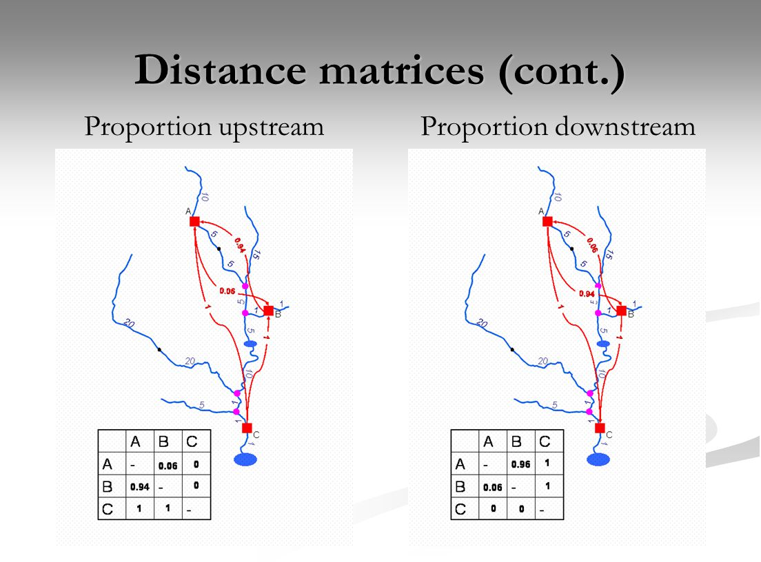 Distance matrices (cont.) Proportion upstreamProportion downstream