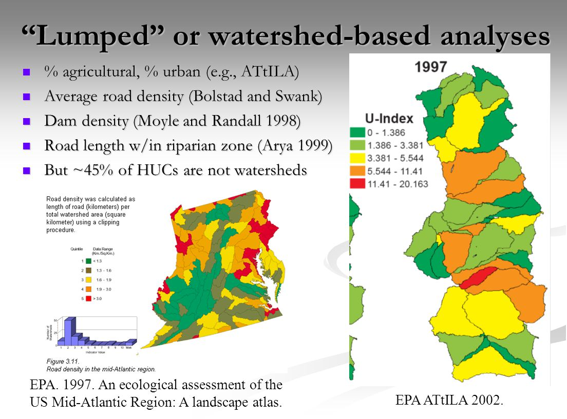 """Lumped"" or watershed-based analyses % agricultural, % urban (e.g., ATtILA) % agricultural, % urban (e.g., ATtILA) Average road density (Bolstad and S"