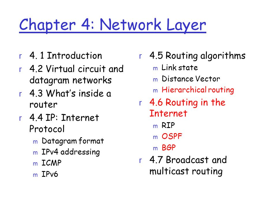 Hierarchical OSPF r two-level hierarchy: local area, backbone.