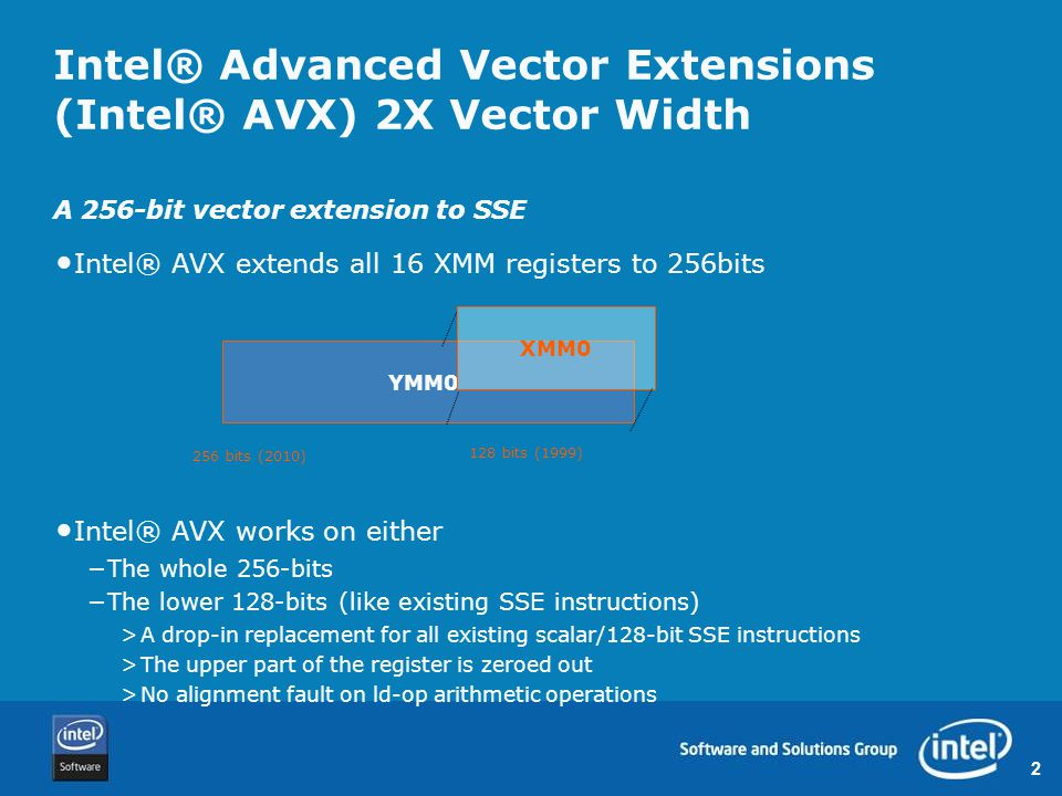 3 Intel® Advanced Vector Extensions (Intel® AVX) – New Encoding System Nearly all SSE FP instructions promoted to 256-bits −VADDPSYMM1, YMM2, [m256] Nearly all (*) SSE instructions encode-able in new format −VADDPSXMM1, XMM2, [m128] −VMULSSXMM1, XMM2, [m32] −VPUNPCKHQDQXMM1, XMM2, [m128] 128-bit and scalar promoted instructions have full inter-operability with 256-bit operations (*) instructions referencing MMX registers are NOT promoted to Intel AVX