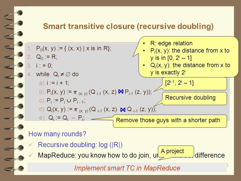 20 Smart transitive closure (recursive doubling) Implement smart TC in MapReduce 1.