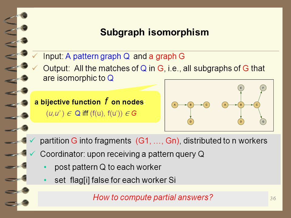 36 Subgraph isomorphism Input: A pattern graph Q and a graph G Output: All the matches of Q in G, i.e., all subgraphs of G that are isomorphic to Q a bijective function f on nodes: (u,u' ) ∈ Q iff (f(u), f(u')) ∈ G How to compute partial answers.