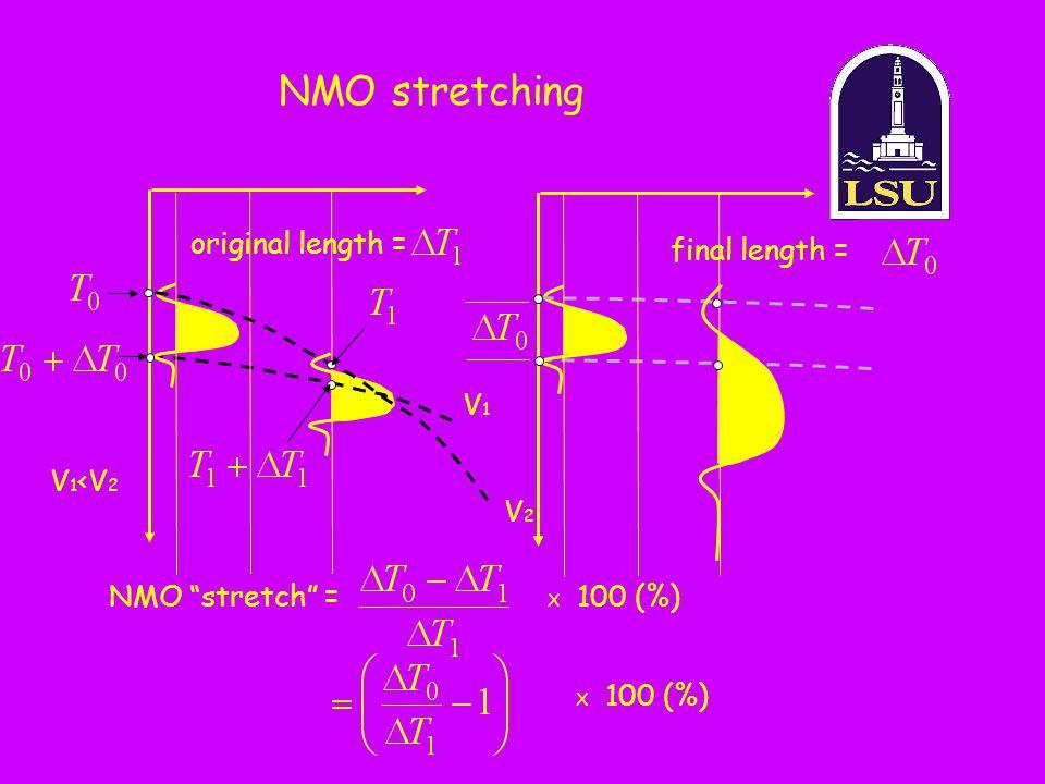 NMO stretching V1V1 V2V2 V 1 <V 2 X 100 (%) original length = final length = NMO stretch = X 100 (%)