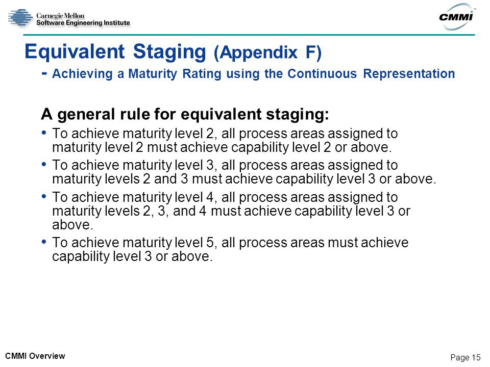 CMMI Overview Page 15 Equivalent Staging (Appendix F) - Achieving a Maturity Rating using the Continuous Representation A general rule for equivalent staging: To achieve maturity level 2, all process areas assigned to maturity level 2 must achieve capability level 2 or above.