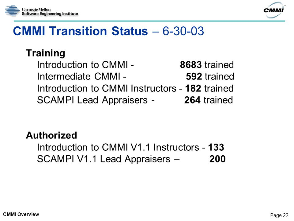 CMMI Overview Page 22 CMMI Transition Status – 6-30-03 Training Introduction to CMMI - 8683 trained Intermediate CMMI - 592 trained Introduction to CMMI Instructors - 182 trained SCAMPI Lead Appraisers - 264 trained Authorized Introduction to CMMI V1.1 Instructors - 133 SCAMPI V1.1 Lead Appraisers – 200