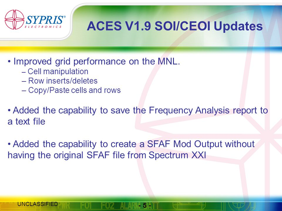 - 5 - UNCLASSIFIED ACES V1.9 SOI/CEOI Updates Improved grid performance on the MNL.