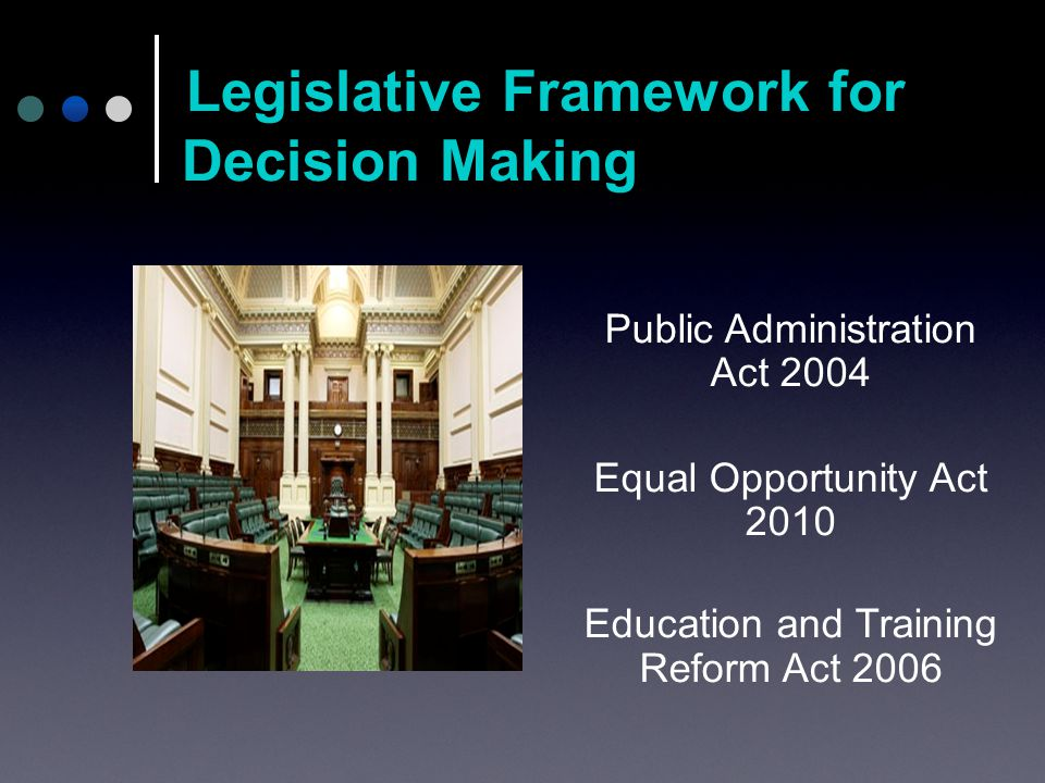 Public Administration Act 2004 Equal Opportunity Act 2010 Education and Training Reform Act 2006 Legislative Framework for Decision Making