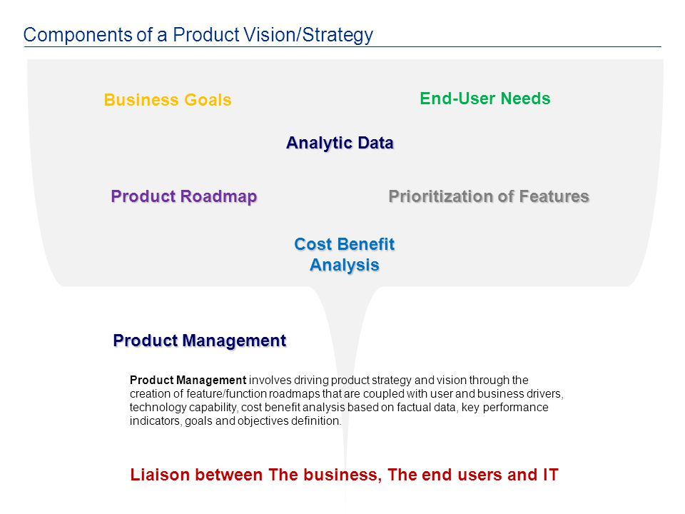 Product Management Product Management involves driving product strategy and vision through the creation of feature/function roadmaps that are coupled