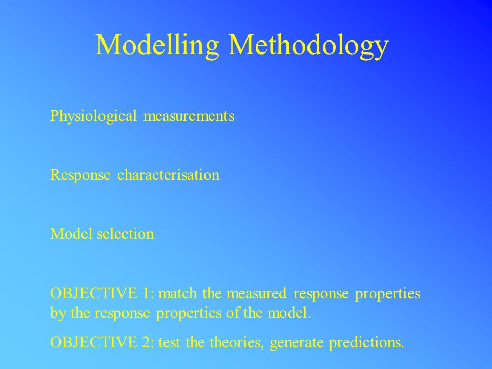 Modelling Methodology Physiological measurements Response characterisation Model selection OBJECTIVE 1: match the measured response properties by the response properties of the model.