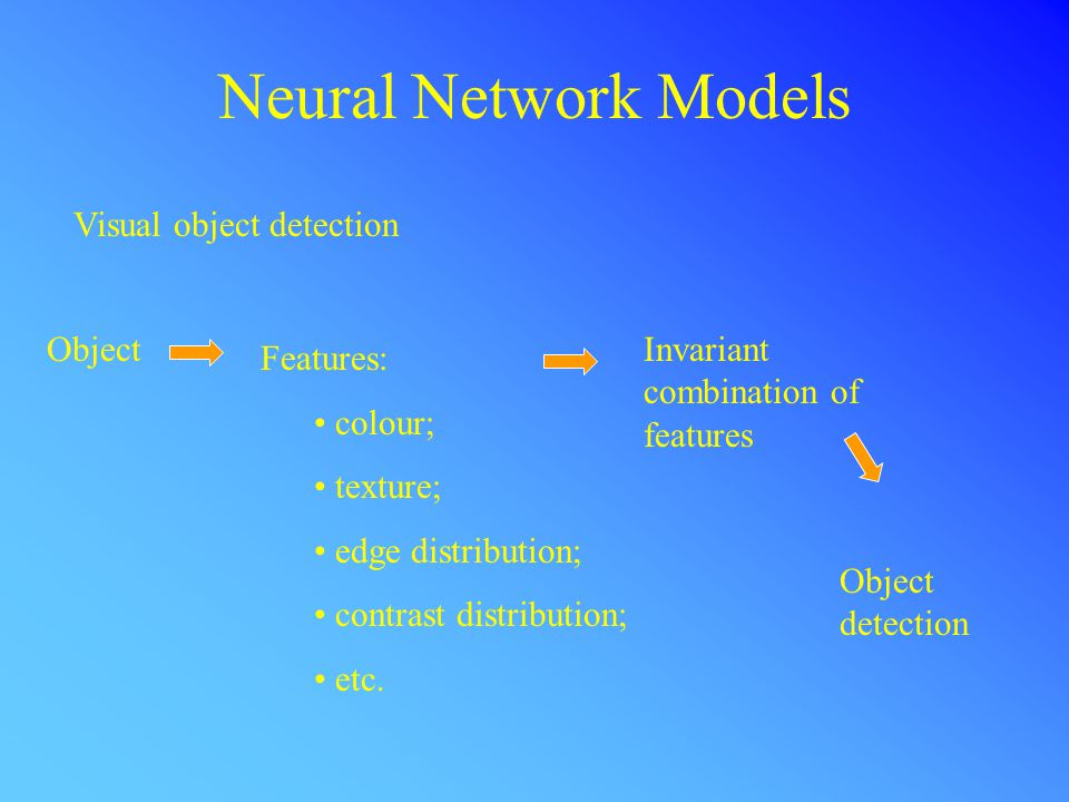 Neural Network Models Visual object detection Object Features: colour; texture; edge distribution; contrast distribution; etc.