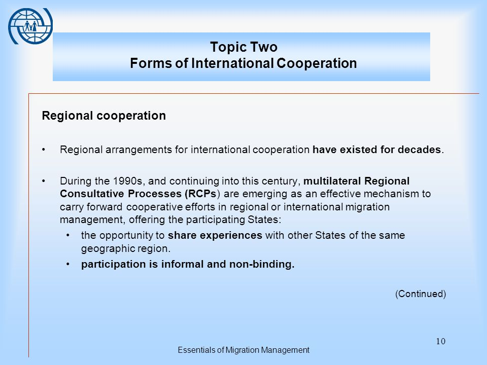 Essentials of Migration Management 10 Topic Two Forms of International Cooperation Regional cooperation Regional arrangements for international cooperation have existed for decades.