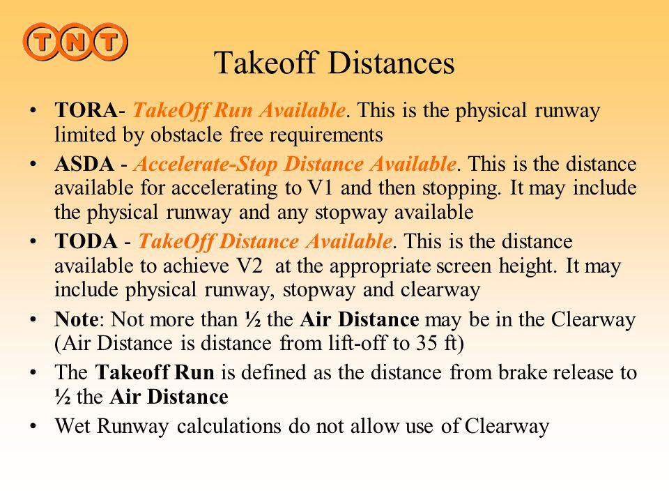 Takeoff Distances RUNWAY MAX 1.25% CLEARWAY STOPWAY TORA ASDA TODA