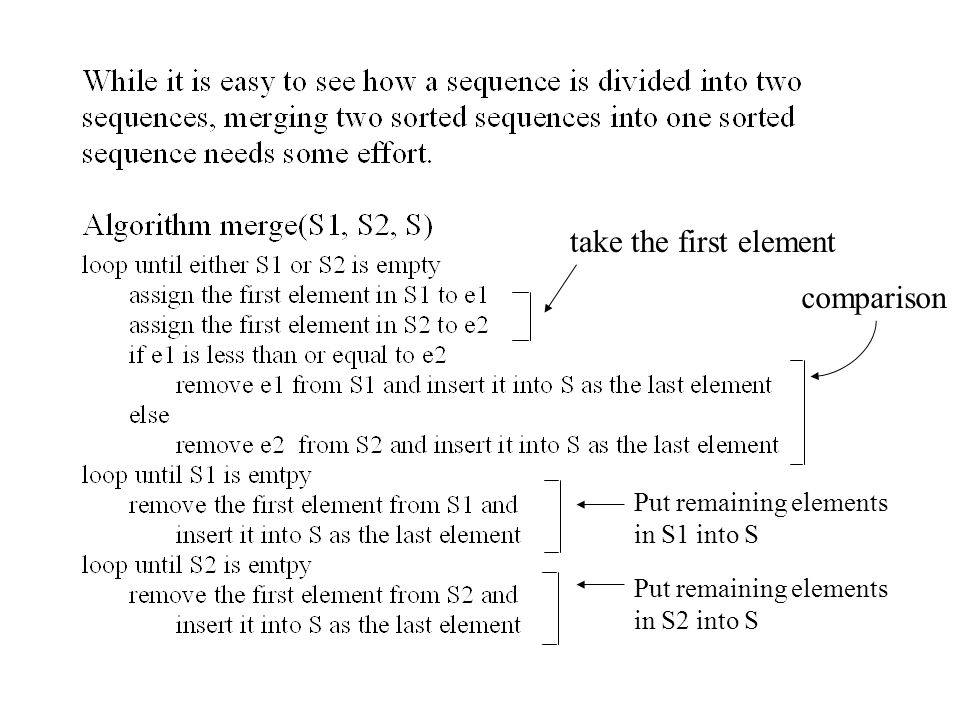 take the first element comparison Put remaining elements in S1 into S Put remaining elements in S2 into S