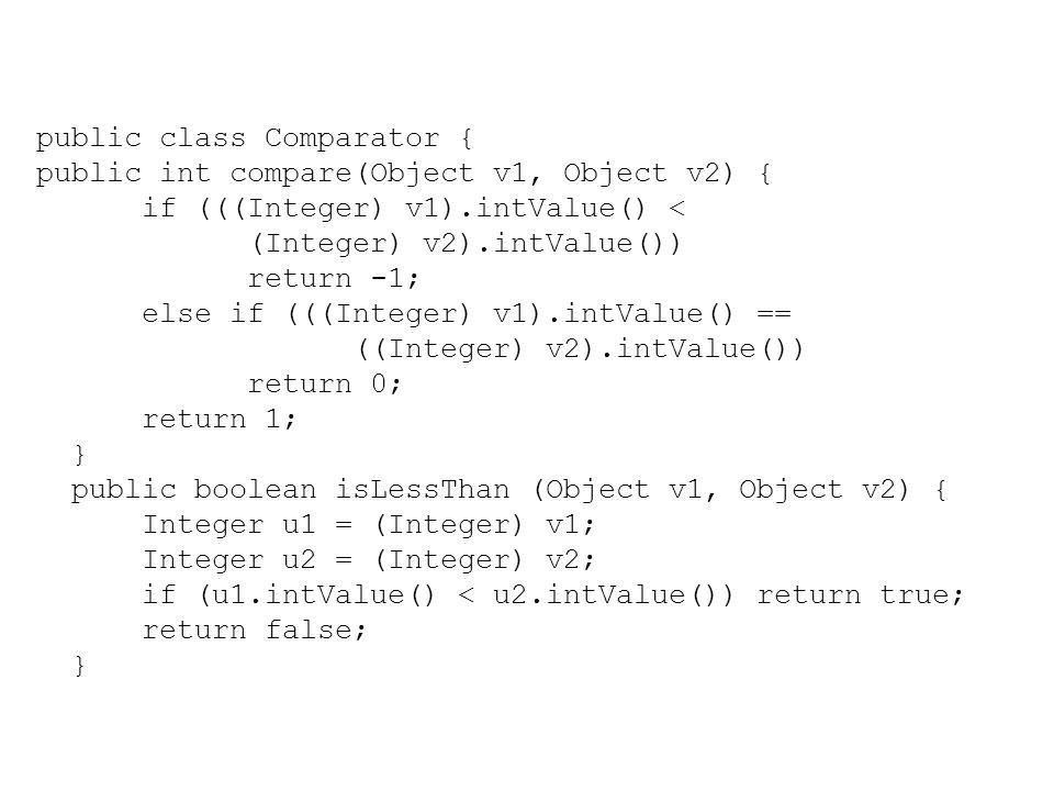 public class Comparator { public int compare(Object v1, Object v2) { if (((Integer) v1).intValue() < (Integer) v2).intValue()) return -1; else if (((I