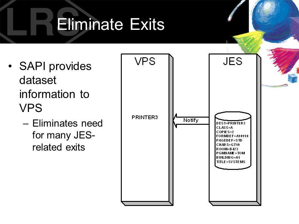 Eliminate Exits SAPI provides dataset information to VPS –Eliminates need for many JES- related exits