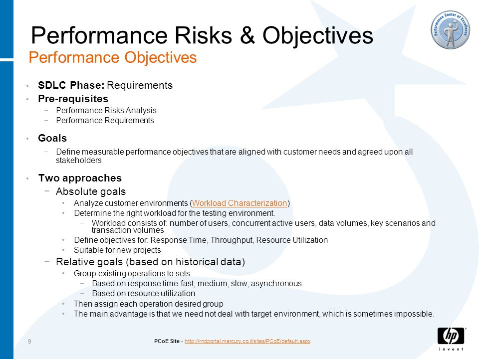 PCoE Site - http://rndportal.mercury.co.il/sites/PCoE/default.aspxhttp://rndportal.mercury.co.il/sites/PCoE/default.aspx 9 SDLC Phase: Requirements Pre-requisites −Performance Risks Analysis −Performance Requirements Goals −Define measurable performance objectives that are aligned with customer needs and agreed upon all stakeholders Two approaches −Absolute goals Analyze customer environments (Workload Characterization)Workload Characterization Determine the right workload for the testing environment.