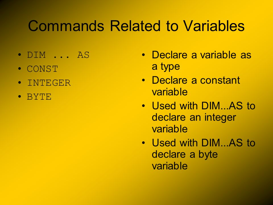 Commands Related to Variables DIM...