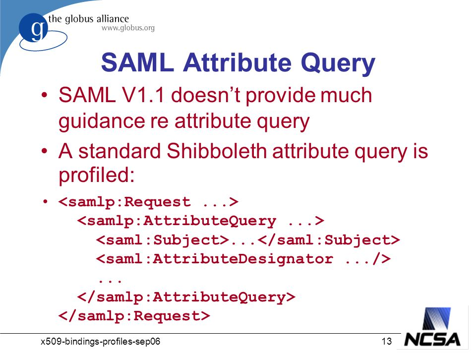 x509-bindings-profiles-sep0613 SAML Attribute Query SAML V1.1 doesn't provide much guidance re attribute query A standard Shibboleth attribute query is profiled:......