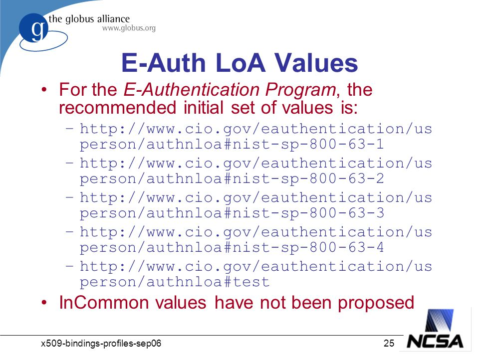 x509-bindings-profiles-sep0625 E-Auth LoA Values For the E-Authentication Program, the recommended initial set of values is: –http://www.cio.gov/eauthentication/us person/authnloa#nist-sp-800-63-1 –http://www.cio.gov/eauthentication/us person/authnloa#nist-sp-800-63-2 –http://www.cio.gov/eauthentication/us person/authnloa#nist-sp-800-63-3 –http://www.cio.gov/eauthentication/us person/authnloa#nist-sp-800-63-4 –http://www.cio.gov/eauthentication/us person/authnloa#test InCommon values have not been proposed